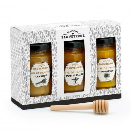 Assortiment de 3 miels du Massif Central et cuillère à miel