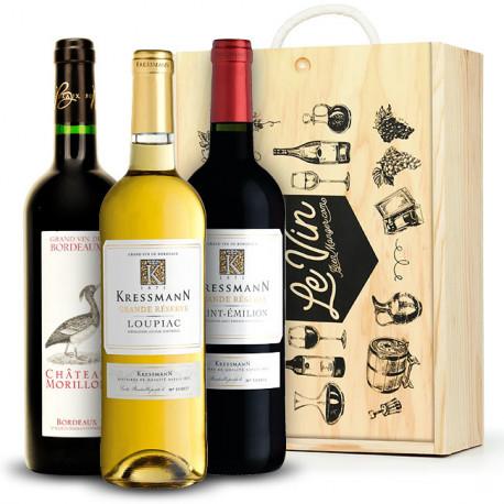 Coffret bois 3 vins de Bordeaux (Loupiac, St Emilion, Bordeaux)